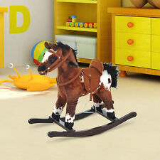Plush Rocking Horse Ride on Pony Toy Wooden Rocker Kid Child w/Neigh Sound Brown