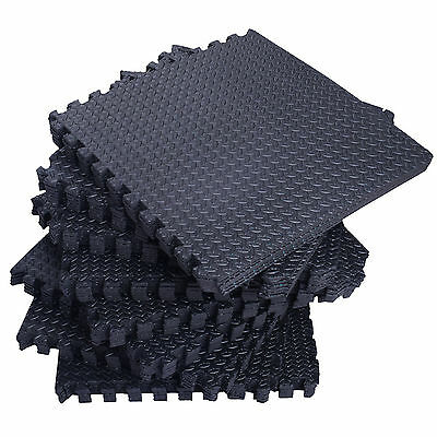 96 SqFt EVA Black Foam Floor Mat Interlocking Tile Exercise Gym DIY 24pcs