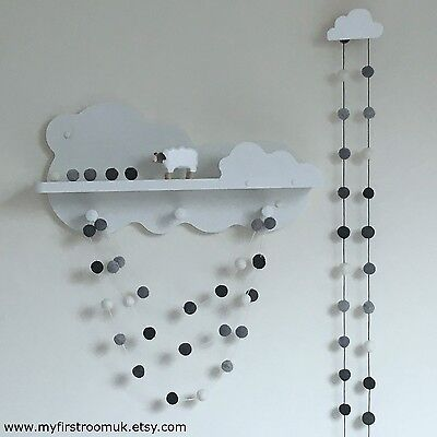 Monochrome Felt Ball Garland,Gender Neutral Nursery,White and Grey Pom Pom,Eco