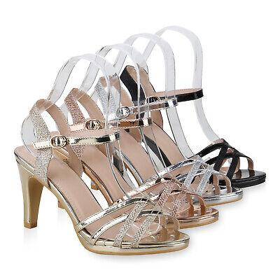 Damen Abiball Hochzeit Riemchensandaletten Stiletto High Heels 830862 Schuhe High Stiletto Heel