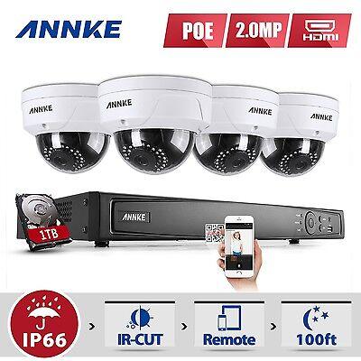 ANNKE 4CH 1080P PoE Video Überwachungsset 1TB kamera NVR CCTV Außen System kit