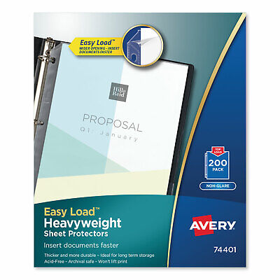 Avery Top-load Poly Sheet Protectors Heavyweight Letter Nonglare 200box 74401
