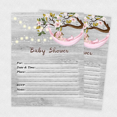 Rustic Baby Shower Girl Country Invitations Pink Girl Invites Qty 20 & Envelopes - Rustic Baby Shower Invitations