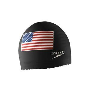 Speedo Flag Latex Swim Cap - Speedo Black with USA Flag - One Size