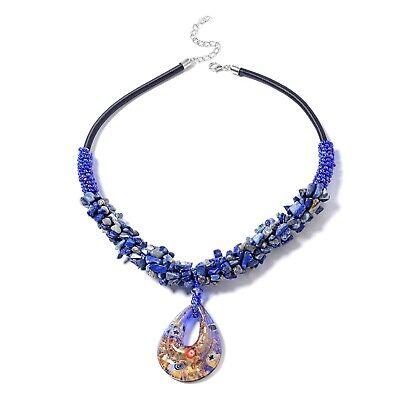 Murano Millefiori Glass Silvertone Lapis Lazuli Bead Strand Necklace Size 20
