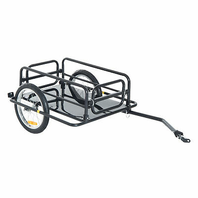 Aosom Wanderer Bicycle Bike Cargo Trailer Utility Luggage Cart Carrier Black