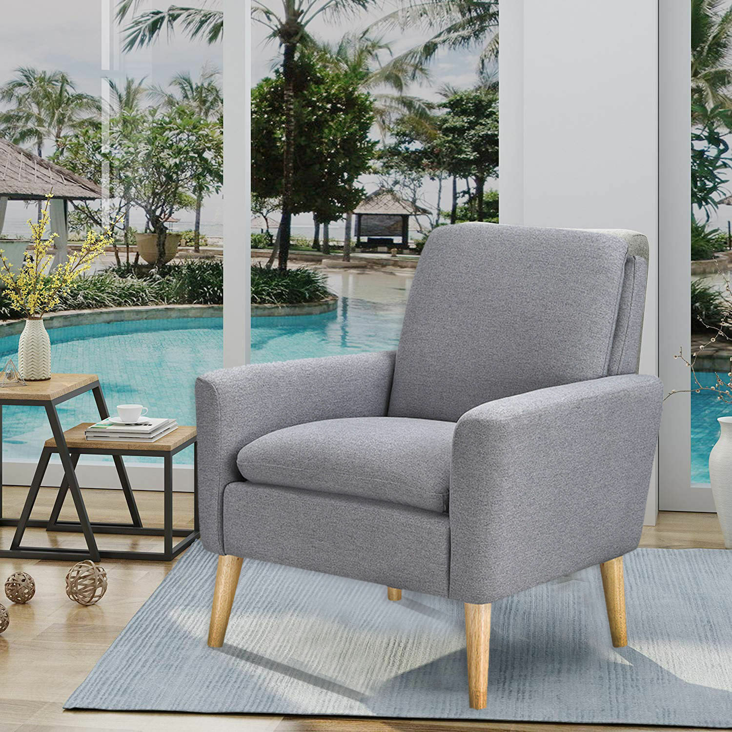 Fabulous Details About Arm Chair Tufted Back Fabric Upholstered Accent Chair Single Sofa Wood Leg Gray Andrewgaddart Wooden Chair Designs For Living Room Andrewgaddartcom