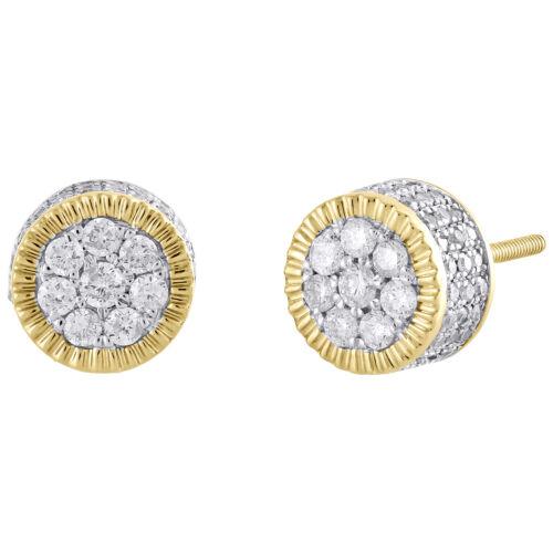 1//4 Ct Noir /& Blanc Diamant Demi Creoles en argent sterling