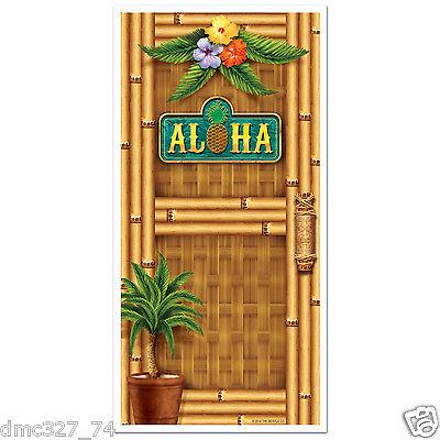 LUAU Tiki Tropical Hawaiian Party ALOHA Bamboo Print DOOR Wall COVER 30in x 5ft](Hawaiian Luau Party)