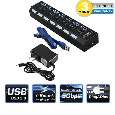 Black 7 Port Usb 3 0 Hub On Off Switches   Ac Power Adapter Cable For Pc Laptop