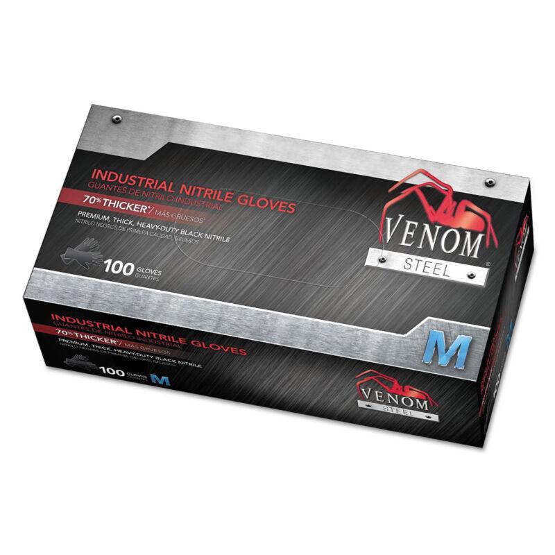Medline Venom Steel Industrial Nitrile Gloves Medium Black 7 mil 100/Box VEN6142