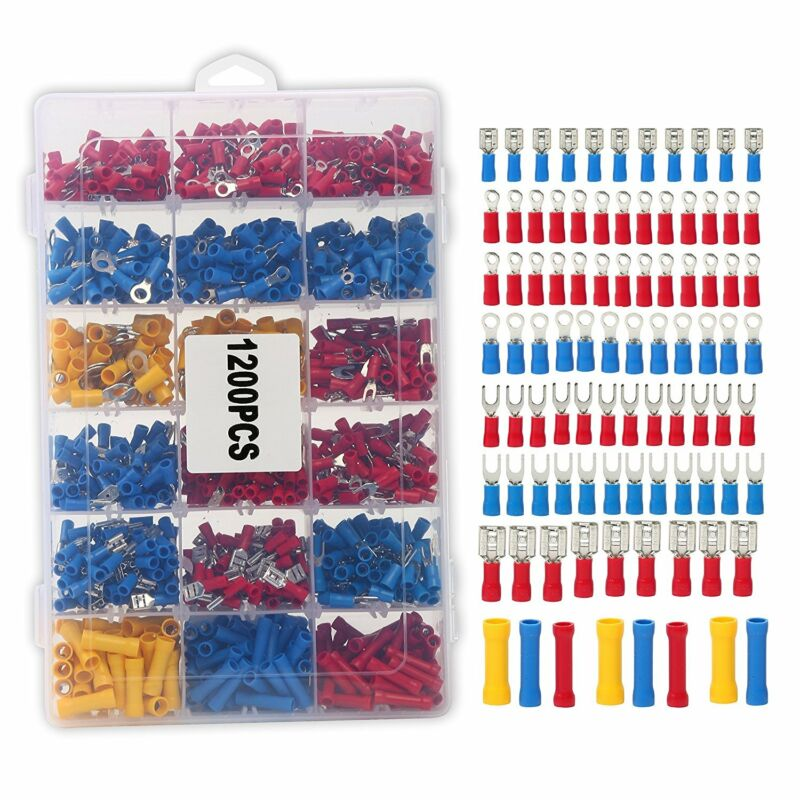 Assorted Crimp Terminal Insulated Electrical Wire Connector Set Case Kit 1200PCS