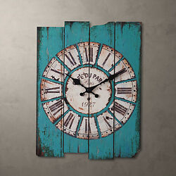 Antique Wall Clock Vintage Wooden style French Country Rectangular Blue Color