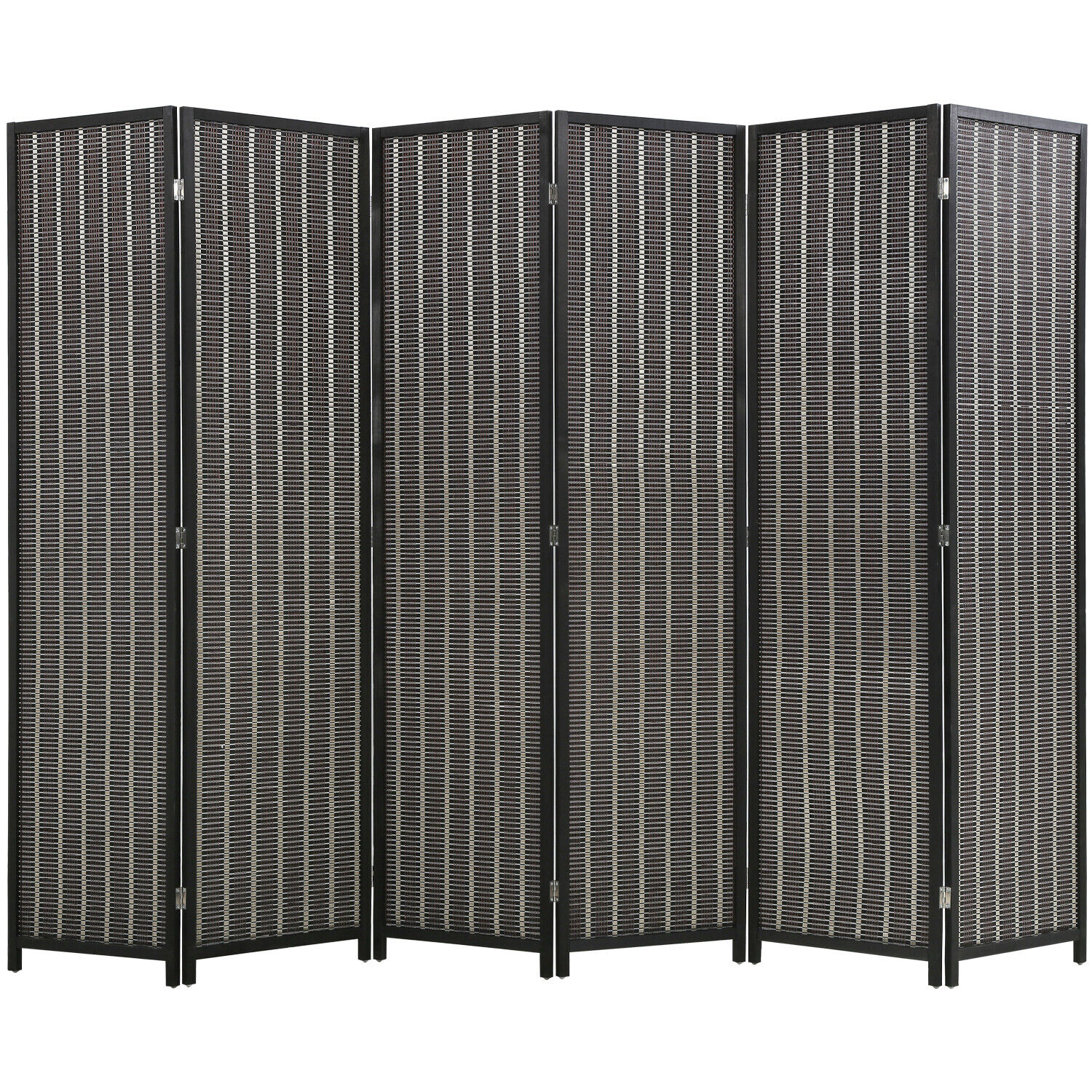 6 Panel 72 Inch Room Divider Bamboo Folding Privacy Wall Divider Wood Screen Furniture