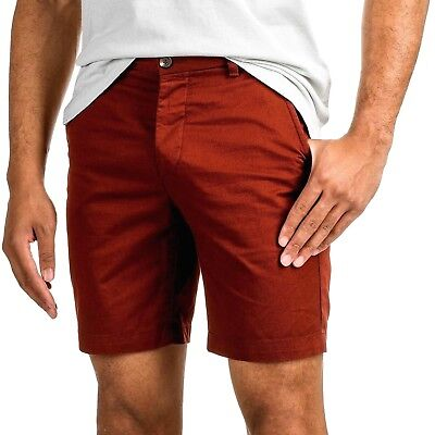 H&M Men's Shorts 38 Red Cotton Twill Reg Fit Short Pants Flat Front Button Fly