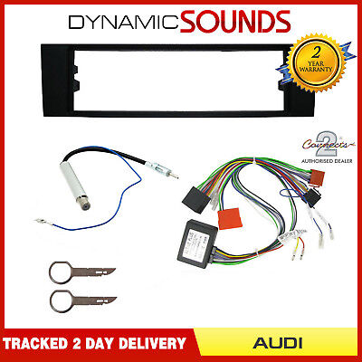 Single Din Fascia Wiring Harness Antenna Adaptor Fitting Kit For Audi A3 02-06