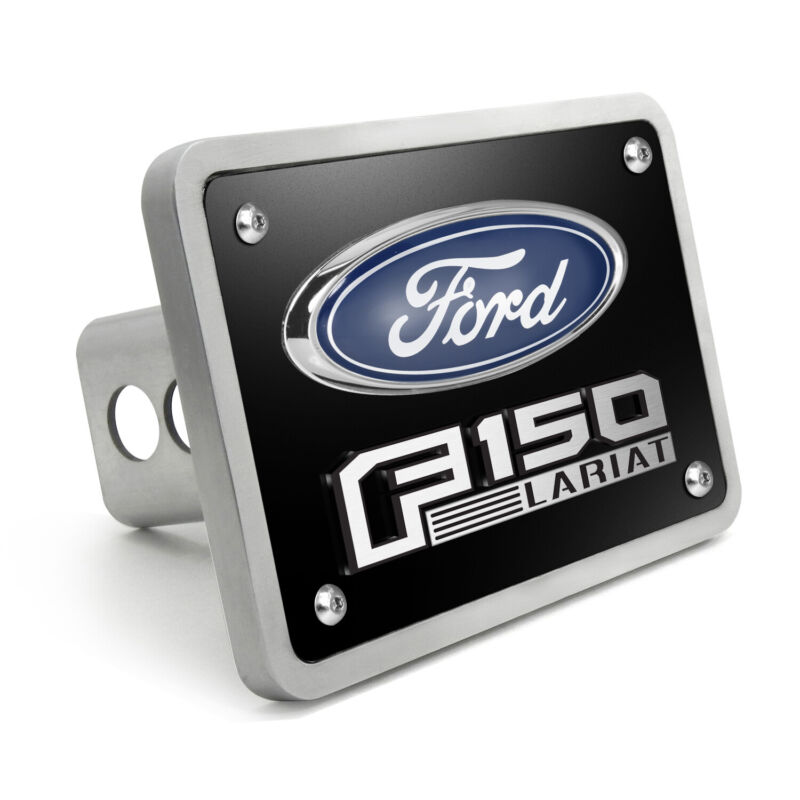 "Ford F-150 Lariat 3D Black 3/8"" Thick Solid Billet Aluminum Tow Hitch Cover"
