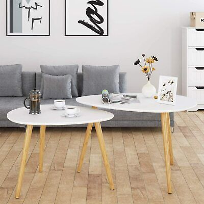 HOMFA Large Nesting Coffee Tables for Living Room, Drop Shape End Side Tables