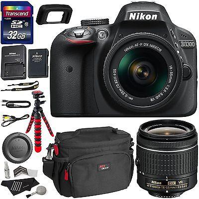 Nikon D3300 AF-P Digital SLR Camera with 18-55mm DX VR II Zoom Lens +Accessories
