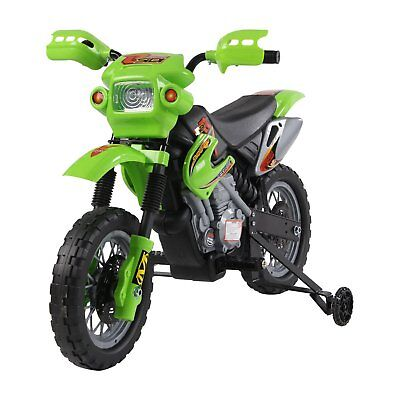 HOMCOM Moto Cross Elettrica per Bambini con Rotelle 2.5Km/h, Verde