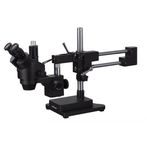 AmScope 7X-45X Trinocular Stereo Zoom Microscope + Double Arm Boom Stand