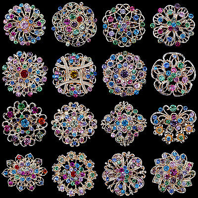 (Lot 16 pc Mixed Vintage Style Golden Rhinestone Crystal Brooch Pin DIY Bouquet )