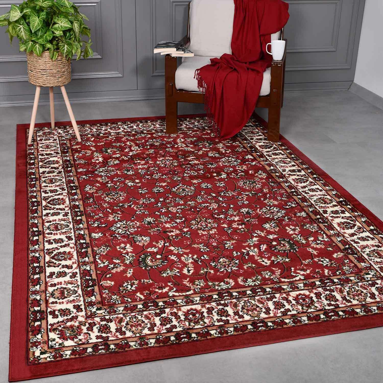 Klassisch Orient Teppich dicht gewebt Wohnzimmer Rot Braun