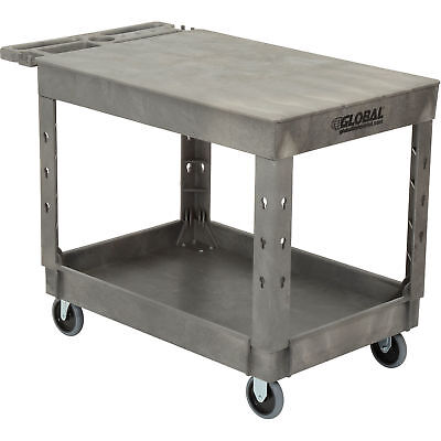 Plastic 2 Flat Shelf Service Utility Cart 44 X 25-12 5 Rubber Caster