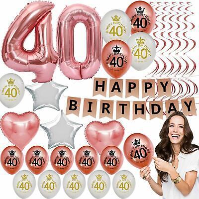 40th Birthday Party Decor (40th Birthday Decorations For Women Her Party Supplies Kit Rose Gold)
