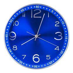 Egundo 12 inch Silent Metal Wall Clock,Non Ticking Quartz Movement Analog