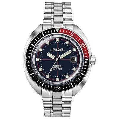 Bulova Men's Automatic Devil Diver Oceanographer Black and Red 44mm Watch 98B320