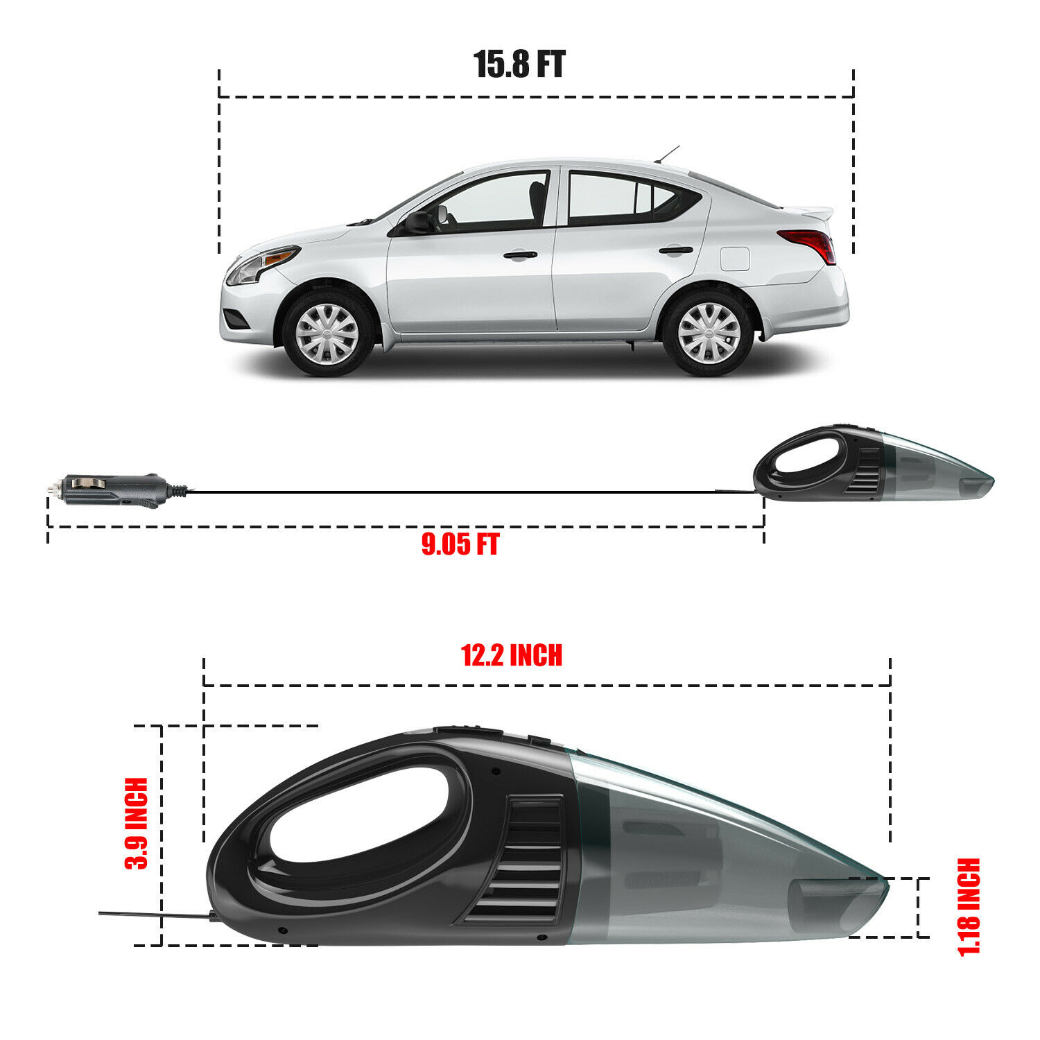Powerful Car Vacuum Cleaner Portable Home Wet & Dry Handheld Strong Suction 12V Automotive Care & Detailing