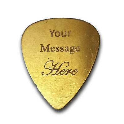 DOUBLE SIDED Custom Engraved Guitar Bass Pick Customizable Gift BRASS New