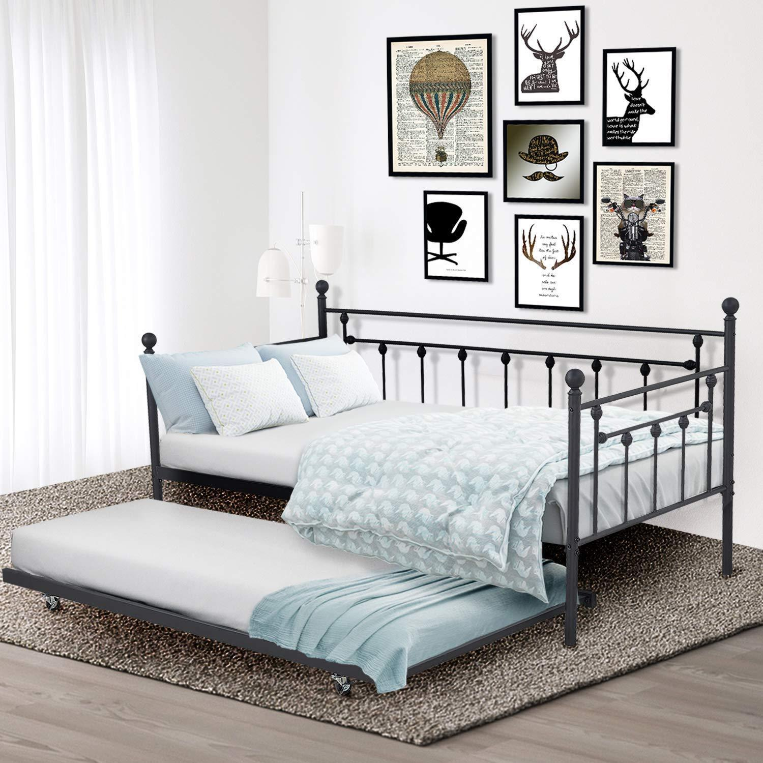 Metal Daybed Frame Twin Bed With Twin Roll Out Trundle Bedroom