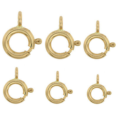 14K Solid Yellow Gold Spring Ring Clasp Round Open Jump Ring 4.5mm - 8mm 1