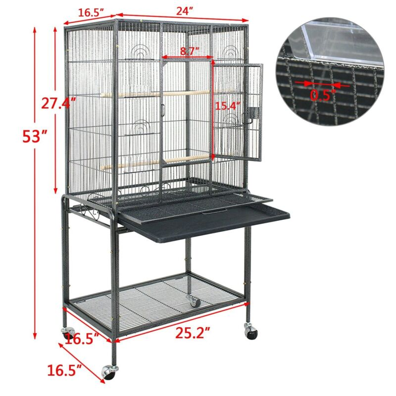 "53"" Black Parrot Cage Bird for Cockatiel Parakeet Finch Playtop Gym Perch Stand"