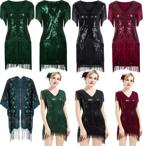 Size 6-18 Flapper 1920s Dress Vintage Gatsby Party Sequin Beaded Fringe Costumes