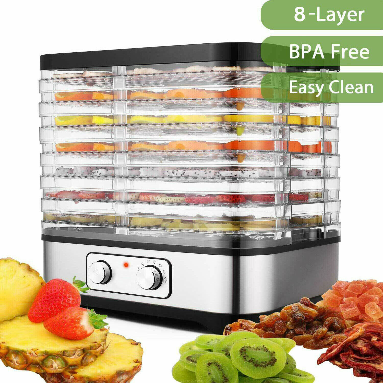 NEW 8/5 Tray Food Dehydrator Machine Electric Food Preserver