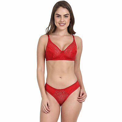 Lycra Bra Panty Set Full Coverage No Pad No Wire Very Light Weight Soft Cup Bra ()