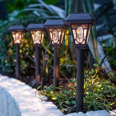 4er Set LED Solar Garten Beleuchtung Außen Laterne Weg Leuchte Erdspieß braun