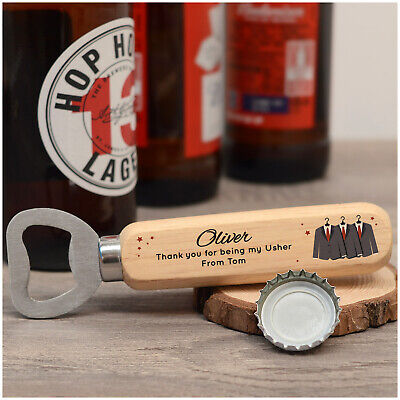 PERSONALISED Wooden Bottle Opener Thank You Gifts for Usher Best Man Groomsman