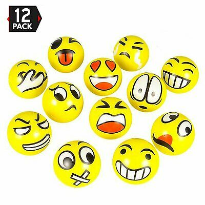 Set of 12 Emoji Face Yellow Foam Soft Stress Novelty Toy Balls (3 inches)