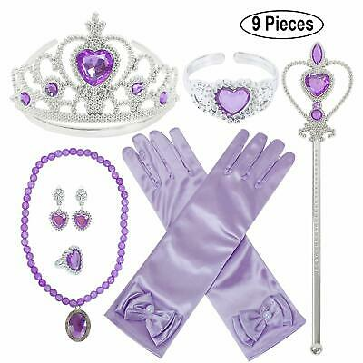 Princess Dress up Accessories 9 Pieces Gift Set for Sofia Crown Scepter - Princess Sofia Crown