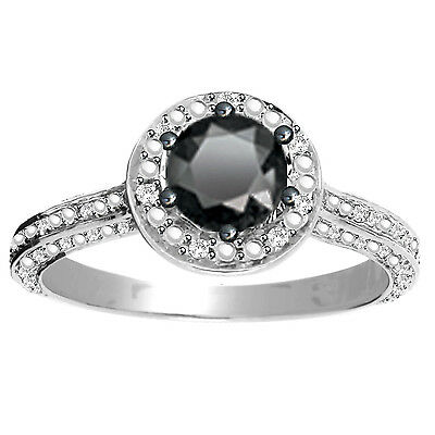 1.20 Ct Black White Real Diamond Solitaire Engagement Halo Sterling Ring (5-10)