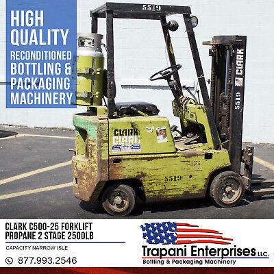 Clark C500-25 Propane 2 Stage Forklift 2500lb Capacity Narrow Isle