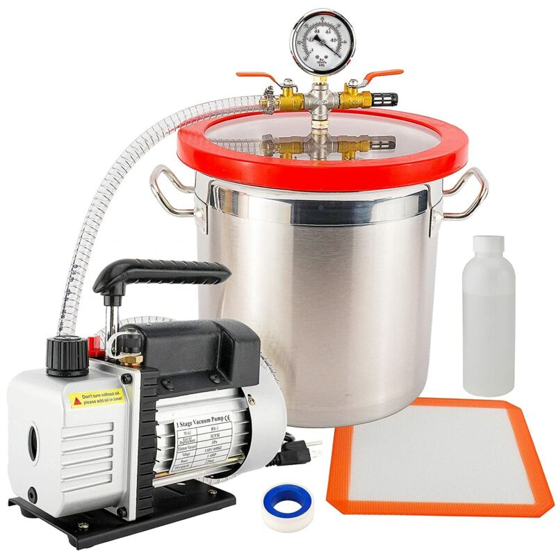 3 Gallon Vacuum Chamber + 3 CFM Dual Stage Pump Kit for Degassing Silicone Epoxy