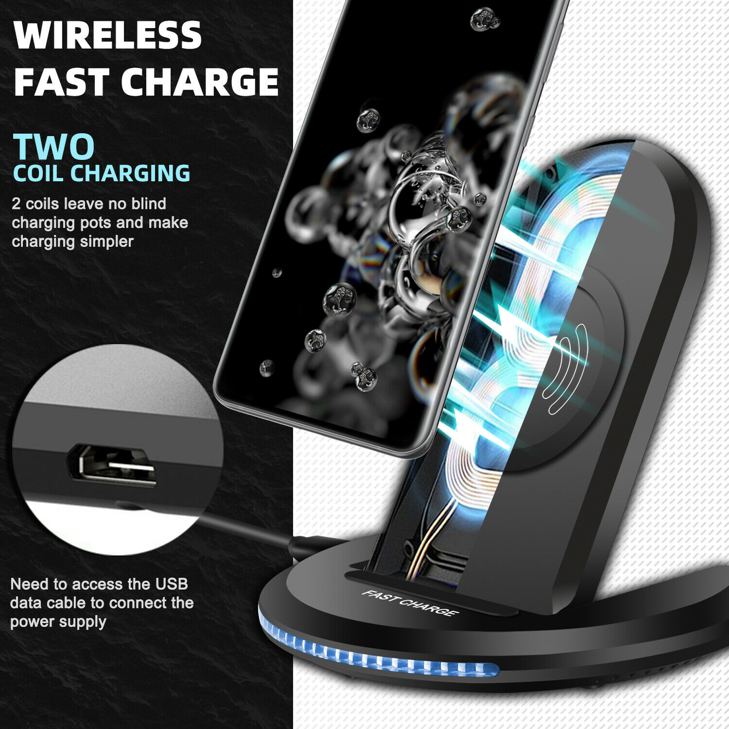 For Samsung Galaxy S21/Note 20 Ultra/10+/S20 FE Case,Wireless Fast Charger Stand Cell Phone Accessories