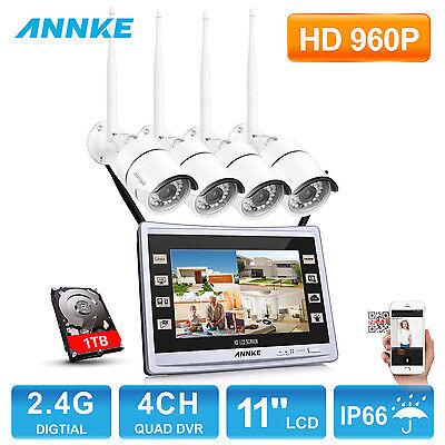 960P 4CH Funk HD Überwachungsset 1T Kamera Nachtsicht Fernzugriff IP Kamera WLAN