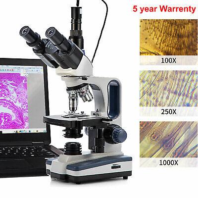 Swift 40x-2500x Led Trinocular Compound Microscope With 5mp Digital Camera
