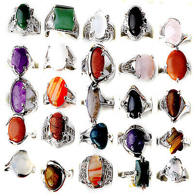 CH Wholesale Jewelry Lots 10pcs Natural Stone Silver Plated Rings Free Shipping